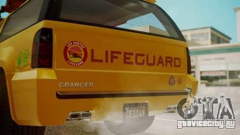 GTA 5 Declasse Granger Lifeguard для GTA San Andreas вид сзади