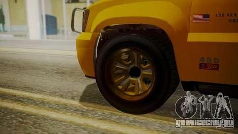 GTA 5 Declasse Granger Lifeguard IVF для GTA San Andreas вид сзади слева