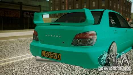 Subaru Impreza 2004 для GTA San Andreas вид сзади
