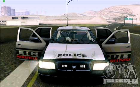 Weathersfield Police Crown Victoria для GTA San Andreas салон