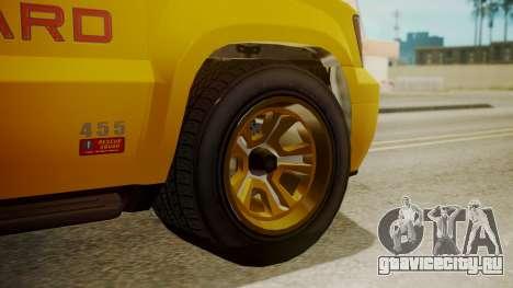 GTA 5 Declasse Granger Lifeguard для GTA San Andreas вид сзади слева