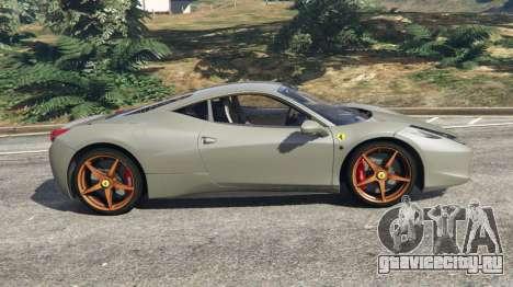Ferrari 458 Italia 2009 v1.4 для GTA 5 вид слева