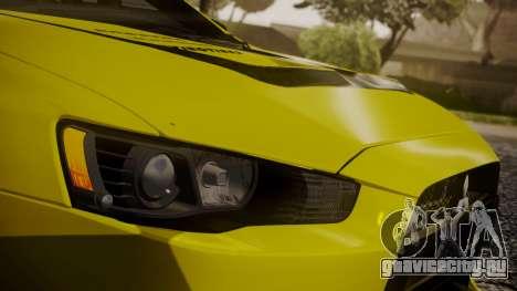 Mitsubishi Lancer Evolution X 2015 Final Edition для GTA San Andreas вид сверху