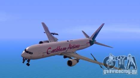 Boeing 767-300 Caribbean Airlines для GTA San Andreas вид сзади слева