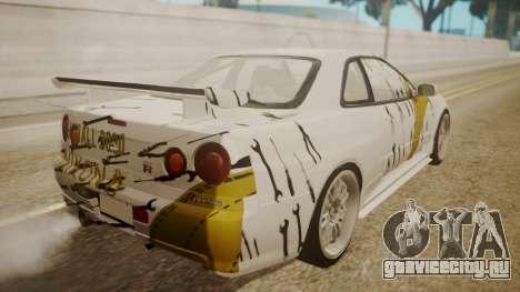 Nissan Skyline R34 FnF 4 v1.1 для GTA San Andreas колёса