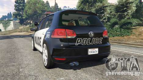 Volkswagen Golf Mk6 Police для GTA 5 вид сзади слева