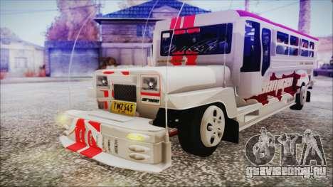 Hataw Motor Works Jeepney для GTA San Andreas вид справа