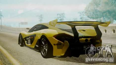 McLaren P1 GTR 2015 Yellow-Green Livery для GTA San Andreas вид слева