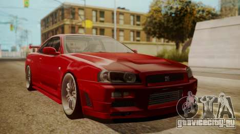 Nissan Skyline R34 FnF 4 v1.1 для GTA San Andreas