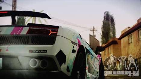 Lamborghini Gallardo LP570-4 2015 Miku Racing 4K для GTA San Andreas вид сзади слева