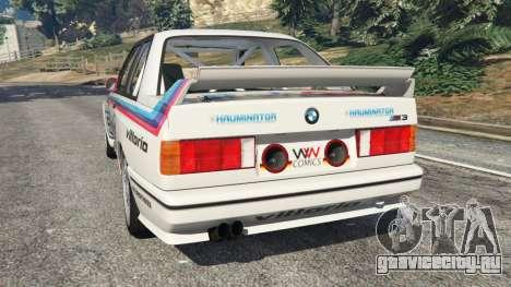 BMW M3 (E30) 1991 v1.2 для GTA 5 вид сзади слева
