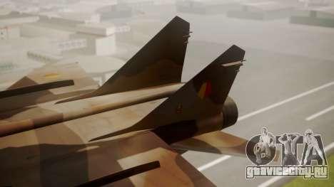 Mikoyan MiG-31 Yuktobanian Air Force для GTA San Andreas вид сзади слева