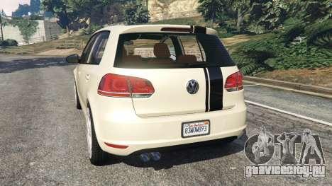 Volkswagen Golf Mk6 v2.0 [Stripes] для GTA 5 вид сзади слева