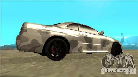 Nissan Skyline R34 Army Drift для GTA San Andreas вид сзади слева