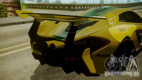 McLaren P1 GTR 2015 Yellow-Green Livery для GTA San Andreas вид сзади