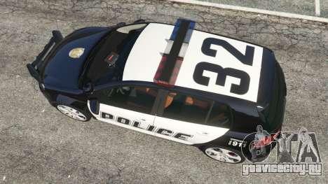 Volkswagen Golf Mk6 Police для GTA 5 вид сзади