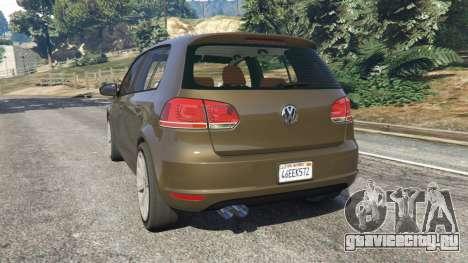 Volkswagen Golf Mk6 для GTA 5 вид сзади слева