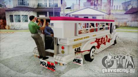 Hataw Motor Works Jeepney для GTA San Andreas вид сзади слева