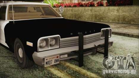Dodge Monaco 1974 SFPD IVF для GTA San Andreas вид сзади