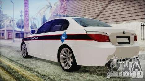 BMW M5 E60 Bosnian Police для GTA San Andreas вид слева