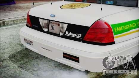 Ford Crown Victoria Miami Dade v2.0 для GTA San Andreas вид сзади