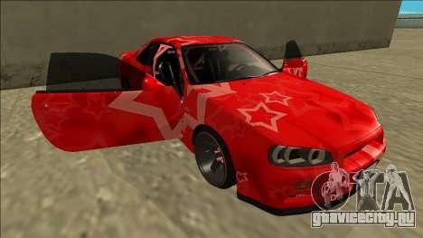 Nissan Skyline R34 Drift Red Star для GTA San Andreas вид снизу