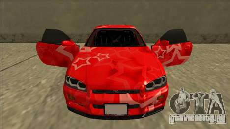 Nissan Skyline R34 Drift Red Star для GTA San Andreas вид сверху