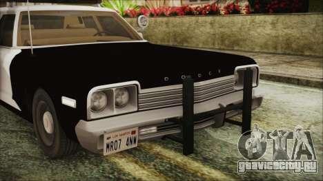 Dodge Monaco 1974 SFPD IVF для GTA San Andreas вид изнутри