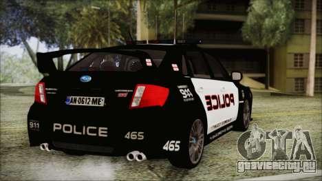 Subaru Impreza Police для GTA San Andreas вид слева