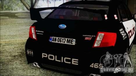 Subaru Impreza Police для GTA San Andreas вид сзади