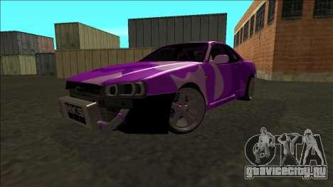 Nissan Skyline R34 Drift для GTA San Andreas вид сзади