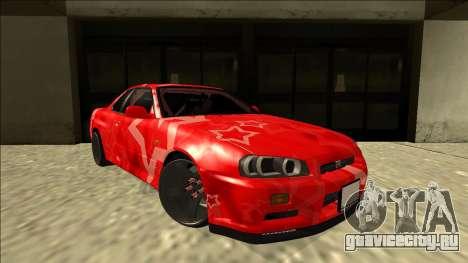Nissan Skyline R34 Drift Red Star для GTA San Andreas вид справа