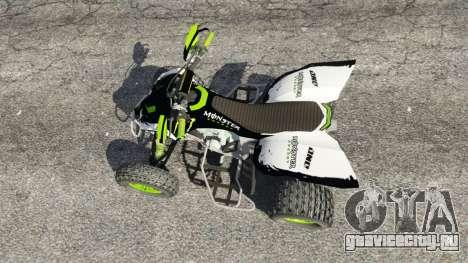 Yamaha YZF 450 ATV Monster Energy для GTA 5 вид сзади