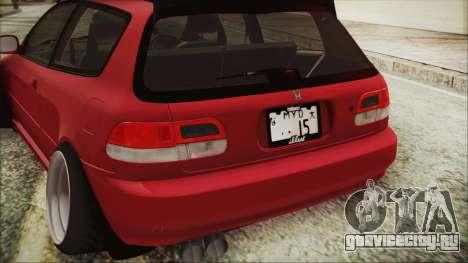 Honda Civic EG6 Hellaflush для GTA San Andreas вид сзади