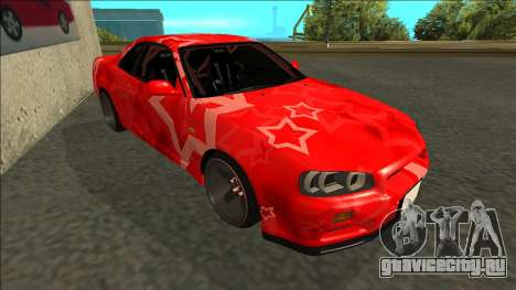 Nissan Skyline R34 Drift Red Star для GTA San Andreas вид слева