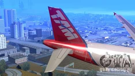 Airbus A320-200 TAM Airlines Oneworld для GTA San Andreas вид сзади слева