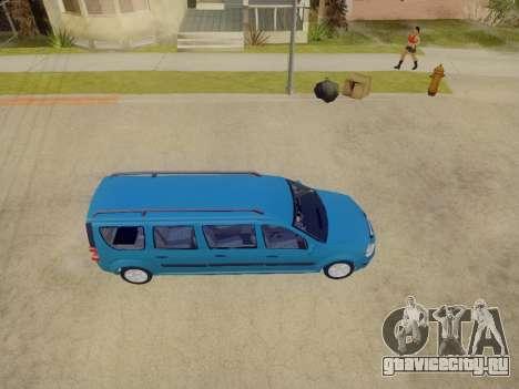 Lada Largus 7-door для GTA San Andreas вид изнутри