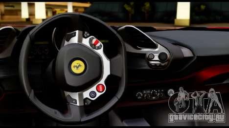 Ferrari 488 GTB 2016 для GTA San Andreas вид изнутри
