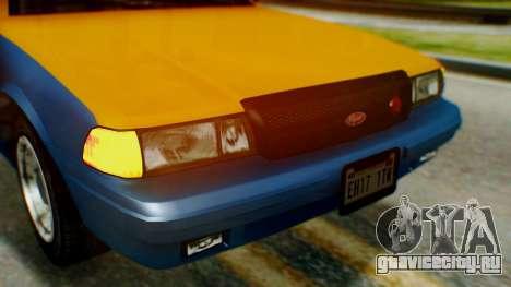 Vapid Taxi для GTA San Andreas вид изнутри