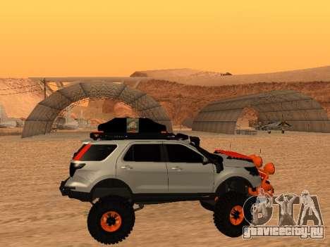 Ford Explorer 2013 Off Road для GTA San Andreas вид сзади слева