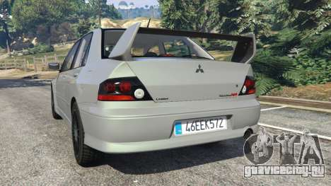 Mitsubishi Lancer Evolution VIII MR для GTA 5 вид сзади слева
