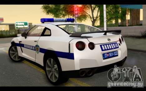 Nissan GT-R Policija для GTA San Andreas вид слева