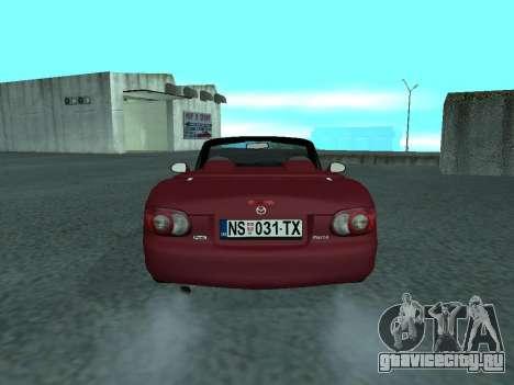 Mazda MX-5 для GTA San Andreas вид сзади слева