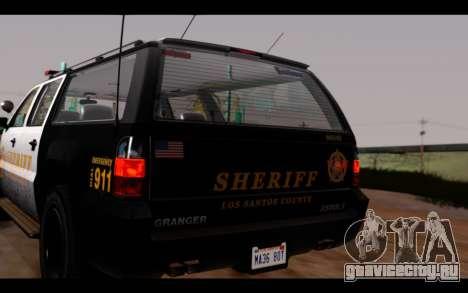 GTA 5 Declasse Sheriff Granger IVF для GTA San Andreas вид сзади