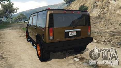 Hummer H2 2005 [tinted] для GTA 5 вид сзади слева