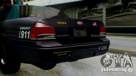 GTA 5 Vapid Stanier II Police IVF для GTA San Andreas вид изнутри