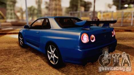 Nissan Skyline GT-R R34 V-spec 1999 для GTA San Andreas вид слева