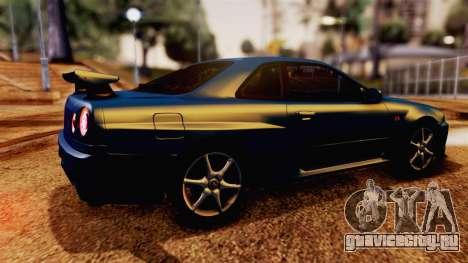 Nissan Skyline GT-R R34 V-spec 1999 для GTA San Andreas вид сзади слева