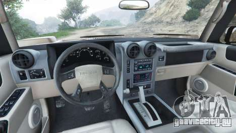 Hummer H2 2005 [tinted] для GTA 5 вид сзади справа