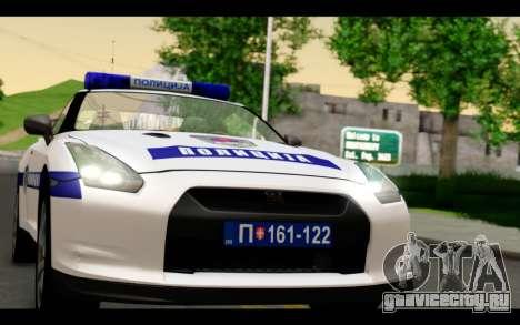 Nissan GT-R Policija для GTA San Andreas вид сзади слева